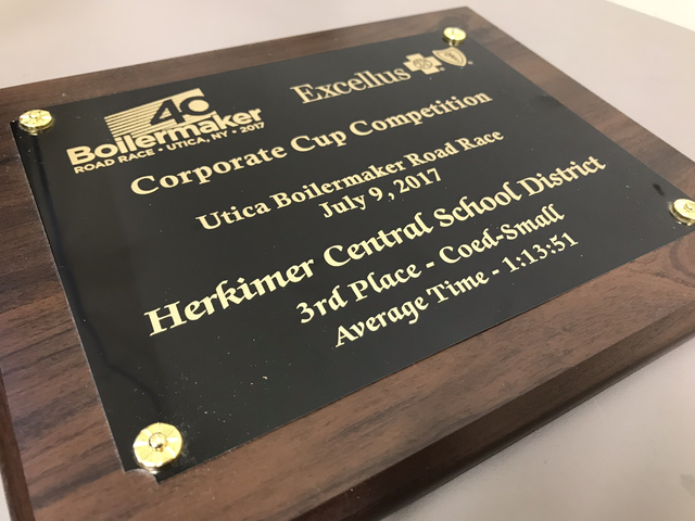 Plaque reading Boilermaker Road Race, Utica New York, 2017, Excellus, Corporate Cup Competition, Utica Boilermaker Road Race, July 9, 2017, Herkimer Central School District, 3rd place - Coed- Small, Average Time - 1:13:51