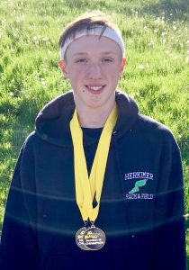 Track athlete wears a medal
