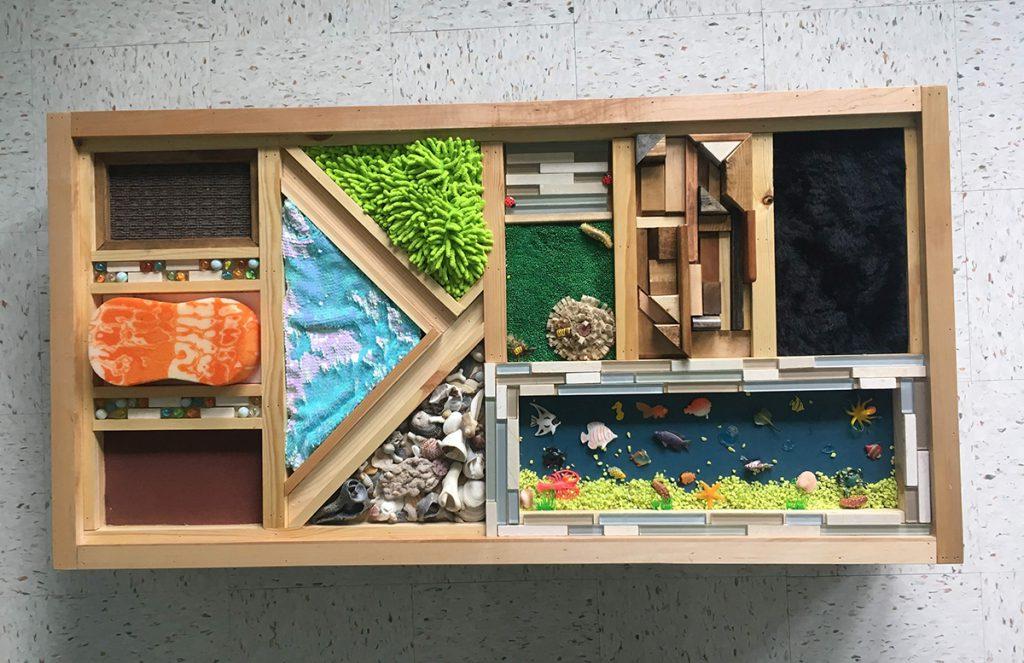fidget objects in a wooden box