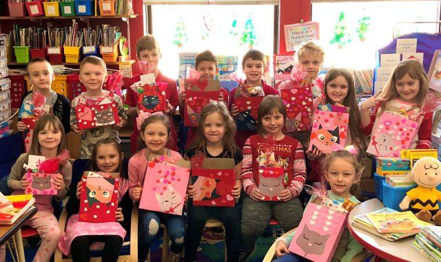 Students show valentines