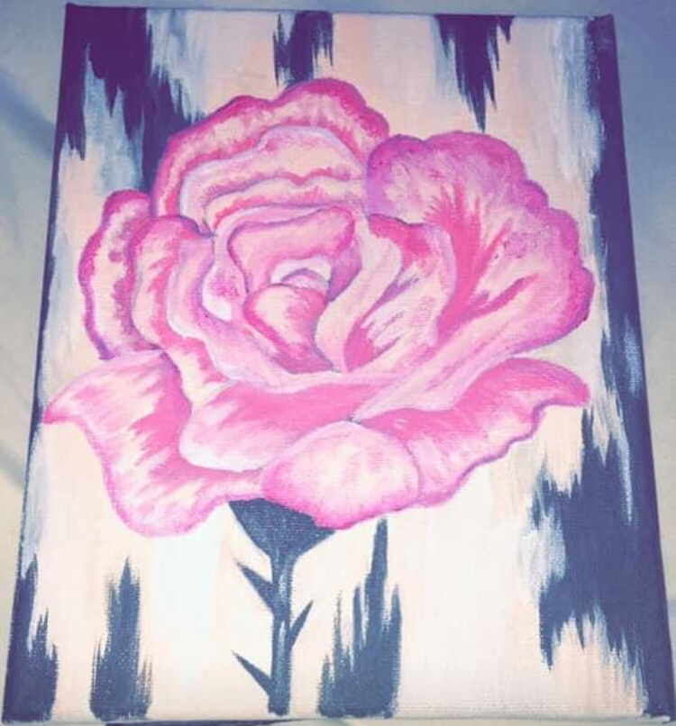 painting of a pink rose