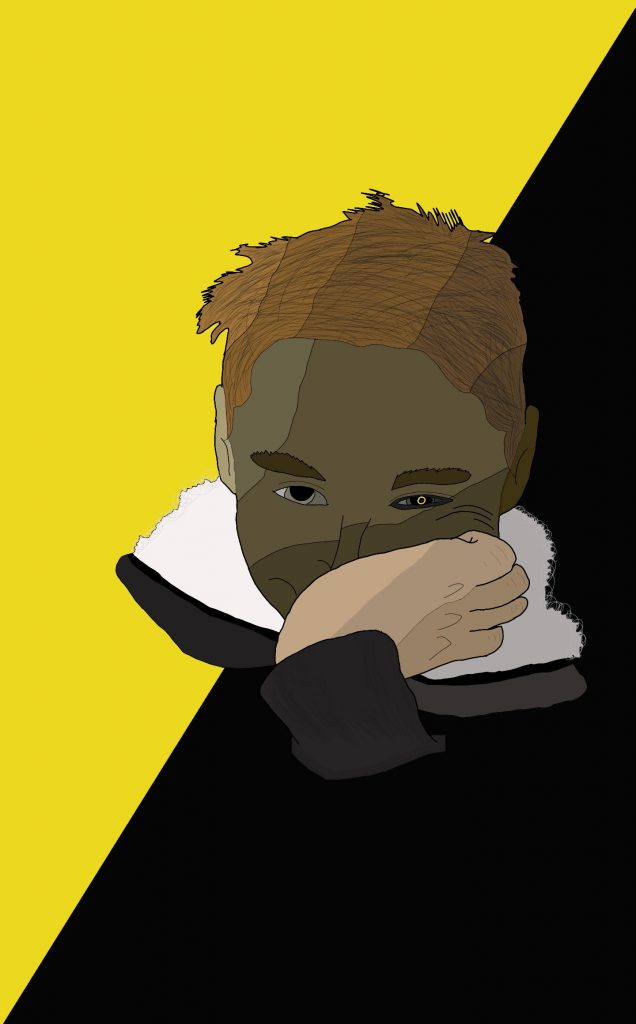 Artwork showing a student with one hand partially covering their face