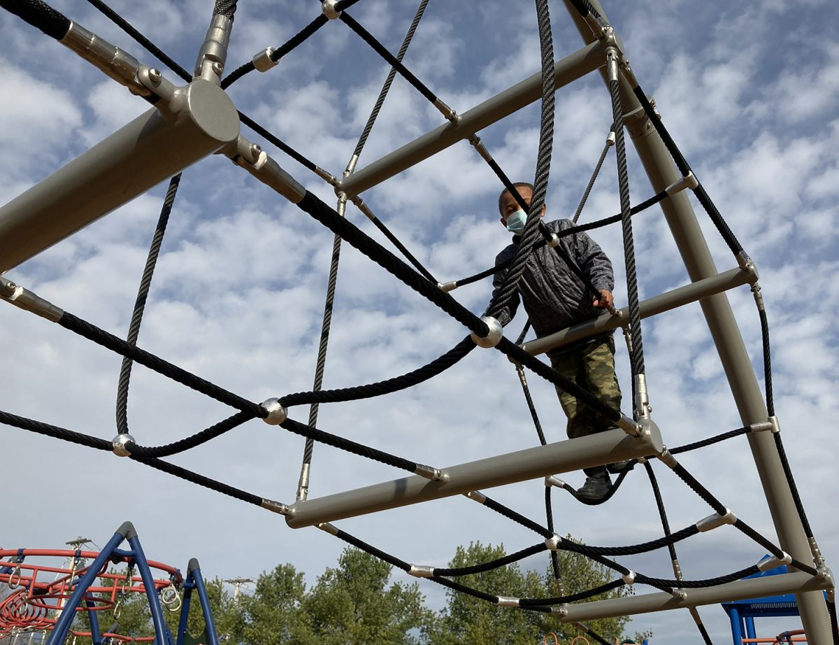 Students enjoy new playground equipment