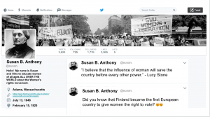 Twitter page screenshot featuring the profile of a social reformer